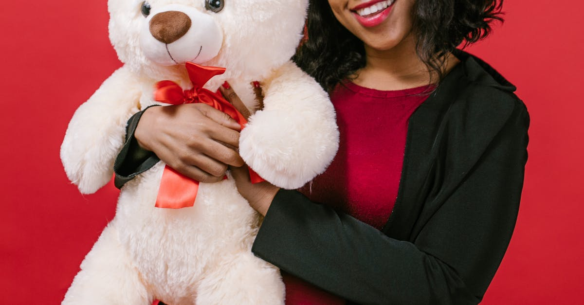 A person holding a large teddy bear